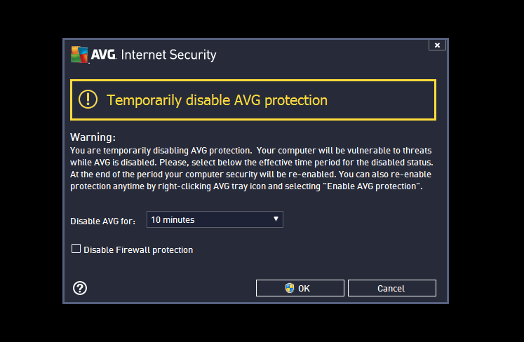 turn off avg internet security