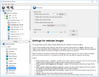 Settings for webcam images